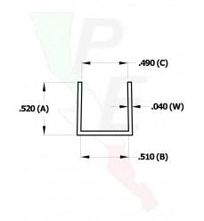 """Canal Tipo """"U"""" De 1/2"""" (12.700 mm)"""
