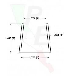 """Canal Tipo """"U"""" De 3/4"""" (19.050 mm)"""