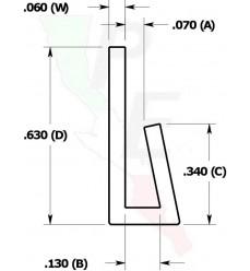 "Canal Tipo ""J"" De 1/16"" (1.587 mm)"