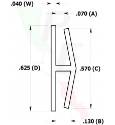 "Canal Tipo ""H"" De 1/16"" (1.587 mm)"