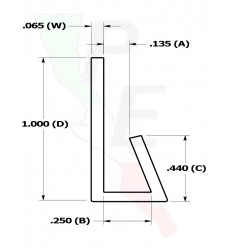 "Canal Tipo ""J"" De 1/8"" (3.175 mm)"