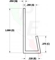 "Canal Tipo ""J"" De 1/4"" (6.3500 mm)"