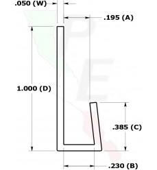 "Canal Tipo ""J"" De 3/16"" (4.762 mm)"