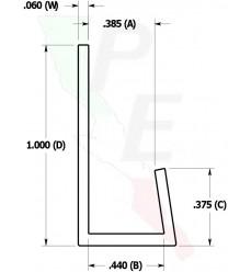 "Canal Tipo ""J"" De 3/8"" (9.525 mm)"