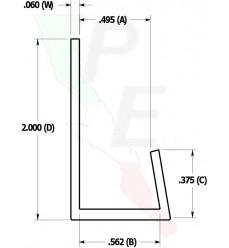 "Canal Tipo ""J"" De 1/2"" (12.700 mm)"