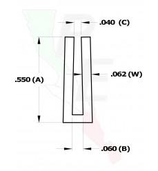 """Canal Tipo """"U"""" De 3/64"""" (1.190 mm)"""