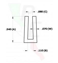 """Canal Tipo """"U"""" De 3/32"""" (2.379 mm)"""