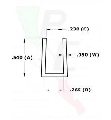 """Canal Tipo """"U"""" De 1/4"""" (6.350 mm)"""
