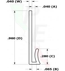 "Canal Tipo ""J"" De 1/32"" (0.792 mm)"