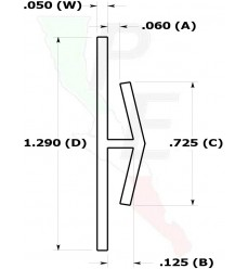 """Canal Tipo """"H"""" De 1/16"""" (1.587 mm)"""