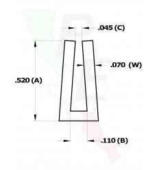 """Canal Tipo """"U"""" De 1/16"""" (1.587 mm)"""